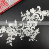 Wholesale High-grade work lace flowers Wedding Dress Neck Collar Applique Embroidery Lace White Applique