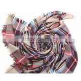 Classic plaid pattern high quality 30 choice 140*140 acrylic new European style square blanket scarf