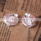 15mm Silver Plated Round Ear Clips Crown Edge Blank Base Earring Tray For Cabochon Bezels Setting