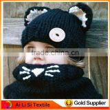 Fashion Hand knit Black Color Kids Children Ear Flap Ski Sherpa Cap,Baby Hat Hand-knit Wool Hat WoolBaby Cap
