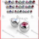 Threaded 316L Surgical Stainless Steel Press Fit Gem Ball accessories Piercing Body Jewelry Wholesale
