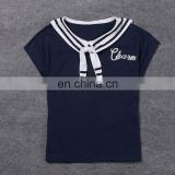China Supplier 2016 Women Navy Blue Sailor Collar T-Shirt Lady Embroideried Blue Short Sleeve Tops