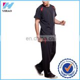 Yihao 2015 fashion new arrival men sport wear short sleeve sport t-shirt top/straigh leg rrousers black gym outfit