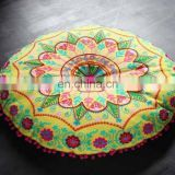 Indian Rajasthani multi color handmade design embroidery round cushion covers for home decor