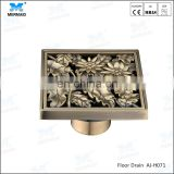 Best Seller of Classic Old style Antique Brass Square Flower Floor Drain Shower Waste Grate Strainer Assembly shower drainer