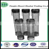 Wire mesh fabricated into cylindrical shape consisting of one or more layers of wire mesh or perforated metal.