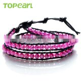 Topearl Jewelry 2016 Popular Potato Shape Rosy Freshwater Pearl Bracelet Woven Leather Wrap New Models Bracelets CLL163
