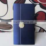 Upscale Handmade Silk Pocket Fold Korean Wedding Invitation Cards