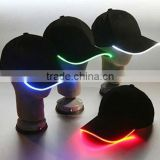 Fashion LED Lighted Glow Club Party Sports Athletic Black Fabric Travel Hat