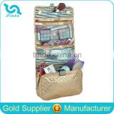 Best Seller Gold Hanging Travel Toiletry Bag Quilted Cosmetic Bag With Removable Compartment