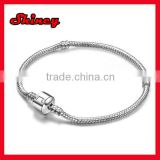 wholesale silver plated snake chain Bracelets with magnetic clasp fit for european beads charms