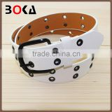 // fashion PU timing belt with holes for // wholesale rivets design pu leather white belts //