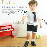 Japanese wholesale products high quality baby boys dress clothes coverall rompers with tie hot selling in japan