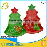 cheap quality assurance plastic melamine christmas tree shape tray