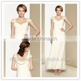 Ankle Length Cap Sleeves Chiffon Wedding Dresses 2013