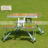 Outdoor Portable Bamboo Picnic Folding Table With 4 Chairs