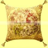 Special Durable Yarn Dyed Colorful Flower with Four Tassel Design Golden Silk Background Cushion Cover GS-020