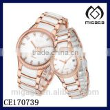 fashion rose gold coating white ceramic quartz watch wholesale*rose gold ceramic watches for men and women