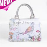 Guangzhou New Design Lady PU Handbag and tote handbag /Tourist Souvenir PU leather Flower and Bird Printed lady bag