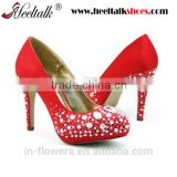 OEM ODM high quality red with rhinestone bridal shoes china