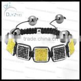 High quality czech stone square shamballa bracelet