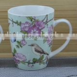 11OZ bird with butterfly full decal print coffee cups, shiny surface porcelain mug, KL5004-A415