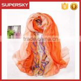 V-825 silk chiffon long digital printing silk scarves wholesale silk scarf women chiffon scarf