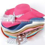 Ladies summer sun visor bow retro floral cloth hat large brimmed garden hat
