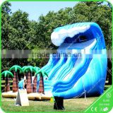 inflatable pool slide with climbing wall,inflatable tropical water slide,inflatable slide pool