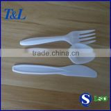 Heavy knife+fork+spoon in one set white disposable plastic cutlery                                                                         Quality Choice