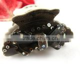 New Hair Bow Hairpin Clip Black Claw Barrette Acryl Rhinestone