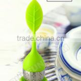 Eco-friendly Food Grade Safe Leaf Shape Stainless Steel Silicone Tea Infuser with Saucer(2 set)