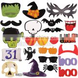 22pcs Halloween Decoration Photo Booth Props Fun Mustache Scary Boo Party Mask Trick or Treat Kids Favors Photography Supplies