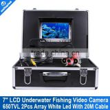 "1/3 CCD 650TVL Underwater Fishing Camera video 20M(66ft) Cable Fish Finder 7"" Digital Monitor 2Pcs Array White LED Night Vision"