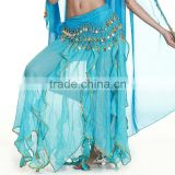 Chiffon sequin sexy long belly dance skirt,chiffon blue belly dance skirts (QC0937)