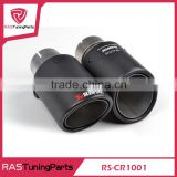Carbon Fiber Coated Stainless Steel Universal Car Exhaust Pipe Tip Tailtip 76mm Akrapovic Car Exhaust Matte Black