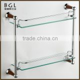 Multi-purpose Direct Marketing Factory Zinc alloy Chrome plated Bathroom accessories Wall mounted Glass shelf