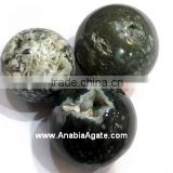 Hand craved Semi-Precious Stone Sphere Natural green moss agate ball