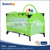 Light Green Iron Frame Baby Cot Bed Travel Baby Playpen