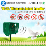 Outdoor solar PIR sensor flash light ultrasonic cat dog controller animal repeller