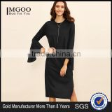Black Bell Sleeve Split Hem Tee Dress Polyester Spandex Long Sleeve Round Neck Casual Midi Dress