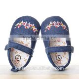 KS50091X Denim fabric style breathable embroidered baby prewalker shoes