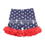 Girls 4th of July icing ruffle shorts cotton wholesale patriotic girls boutique clothing