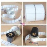 semi-gloss PET material label roll, thermal transfer paper label jumbo roll, manufacturer adhesive barcode stickers