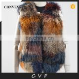 High quality fancy raccoon fur overcoat waistcoat wholesale for winter