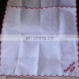 100% cotton vintage scrolled hem handkerchief in white color with monogramming for wedding