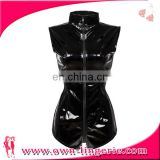 Wholesale Ladies Black Sexy PVC Leather Catsuit Costume Short Leather Playsuit