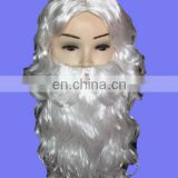 Factory direcet sell santa Christmas Adult White Deluxe Wig & Long Beard Set