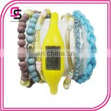 Promotional Cheap Stock 1.5usd Bead Fashion Bracelet Silicone Led Watch