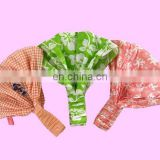 Checks design pink cotton elastic hair accessories